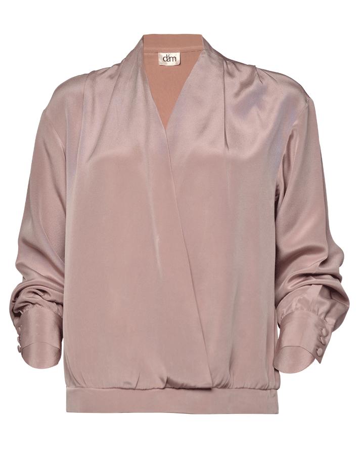 brown silk crepe blouse