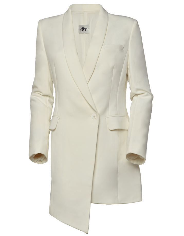 white asymmetrical blazer dress