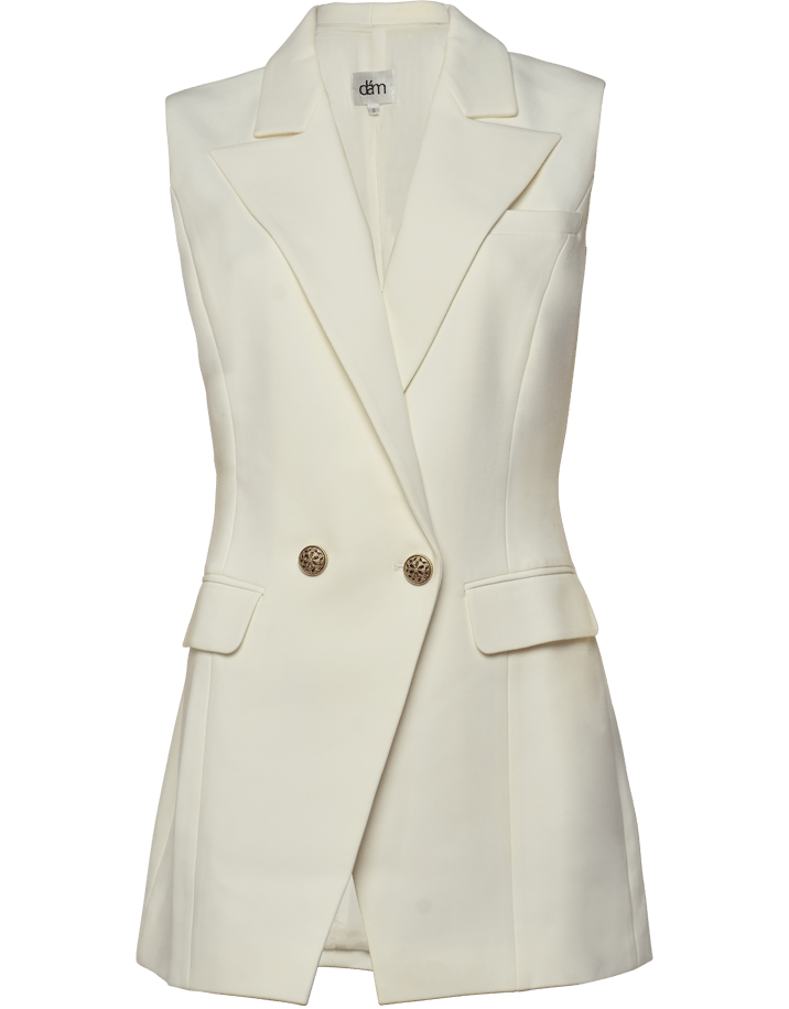 white sleeveless blazer with gold buttons